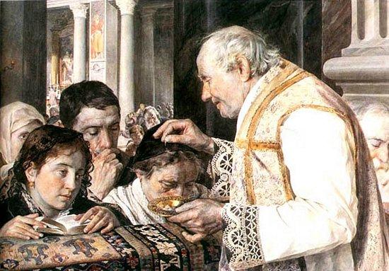 Posypanie popiołem w XIX-wiecznych Włoszech. Julian Fałat, Popielec, 1881
