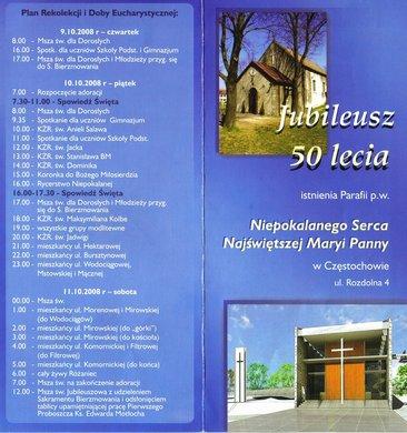 Broszurka wydana z okazji 50-lecia parafii (strona 1)